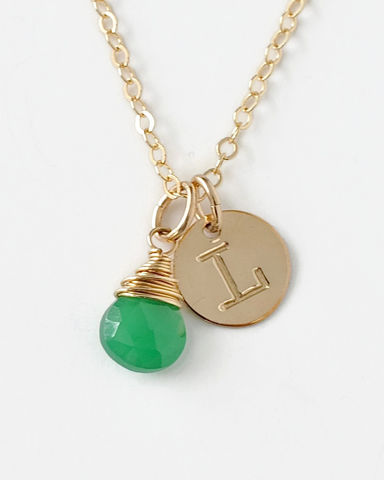 Personalized,Gold,Initial,Necklace,with,Birthstone,for,May,gold initial necklace with birthstone, letter and birthstone necklace, personalized birthstone necklace