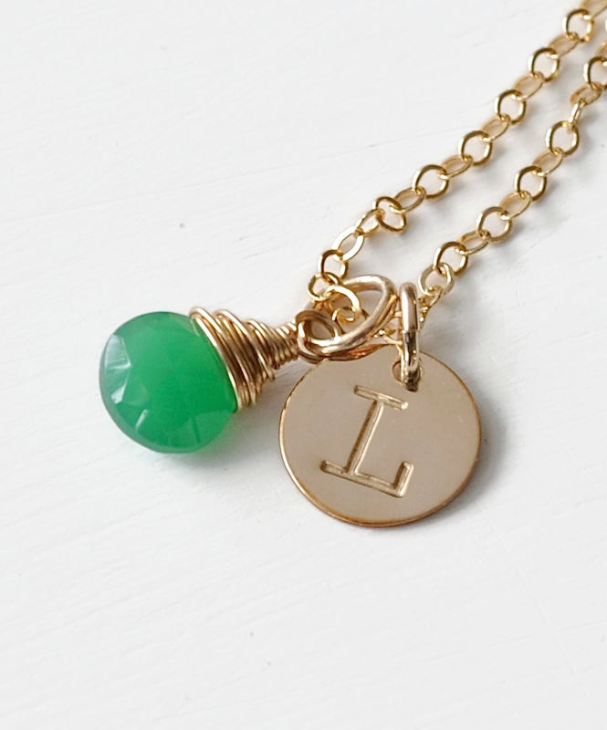 Personalized Gold Initial Necklace with Birthstone for May - product image