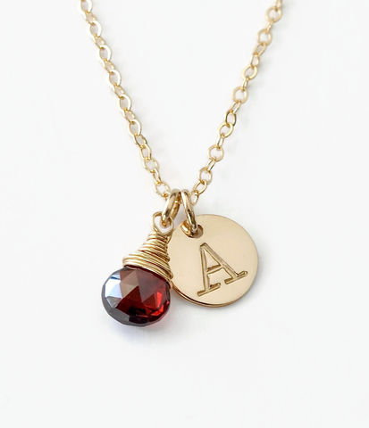 Gold,Initial,Necklace,with,January,Birthstone,gold initial necklace with January birthstone