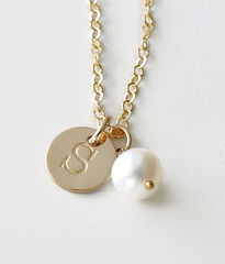 Gold Initial Charm Necklace with June Birthstone - product images 1 of 10