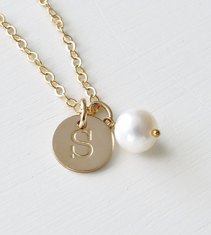 Gold Initial Charm Necklace with June Birthstone - product image