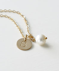 Gold Initial Charm Necklace with June Birthstone - product images 5 of 10