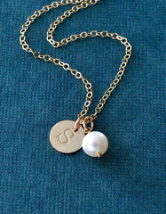 Gold Initial Charm Necklace with June Birthstone - product images 4 of 10
