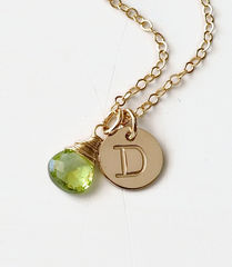 Gold Initial Necklace with August Birthstone - product images 2 of 10