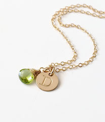 Gold Initial Necklace with August Birthstone - product images 6 of 10
