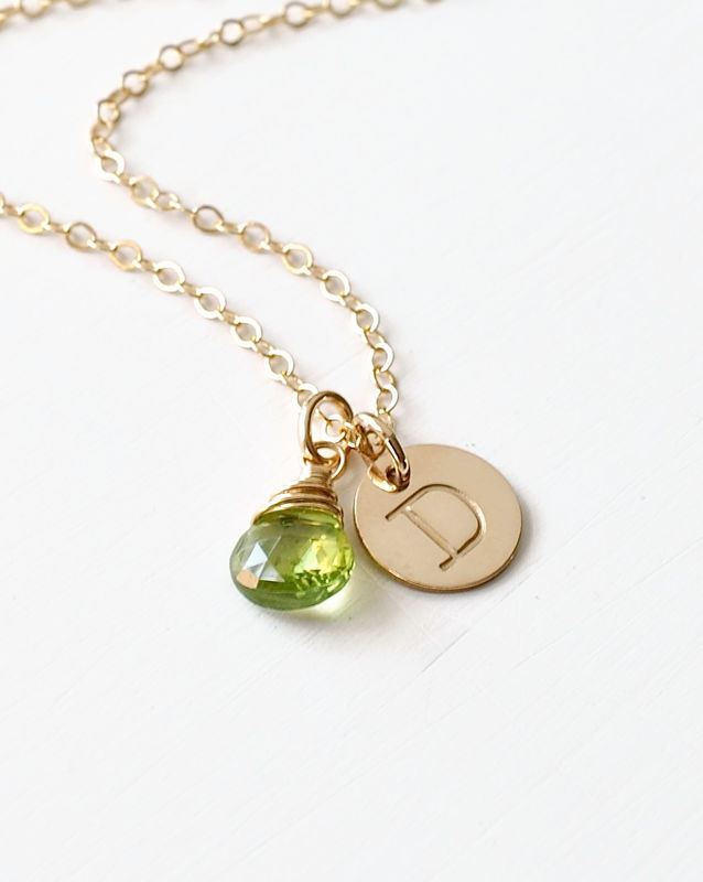 Gold Initial Necklace with August Birthstone - product image