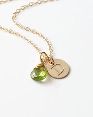 Gold Initial Necklace with August Birthstone - product images 3 of 10