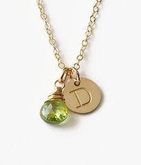 Gold Initial Necklace with August Birthstone - product images 1 of 10
