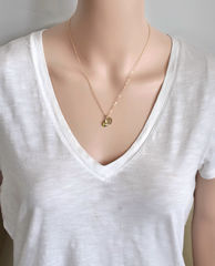 Gold Initial Necklace with August Birthstone - product images 8 of 10