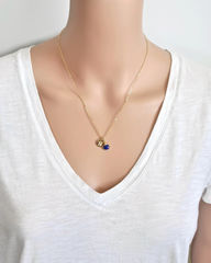 Gold Initial Necklace with September Birthstone - product images 5 of 10