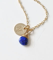 Gold Initial Necklace with September Birthstone - product images 7 of 10