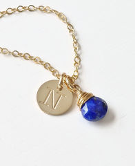 Gold Initial Necklace with September Birthstone - product images 2 of 10