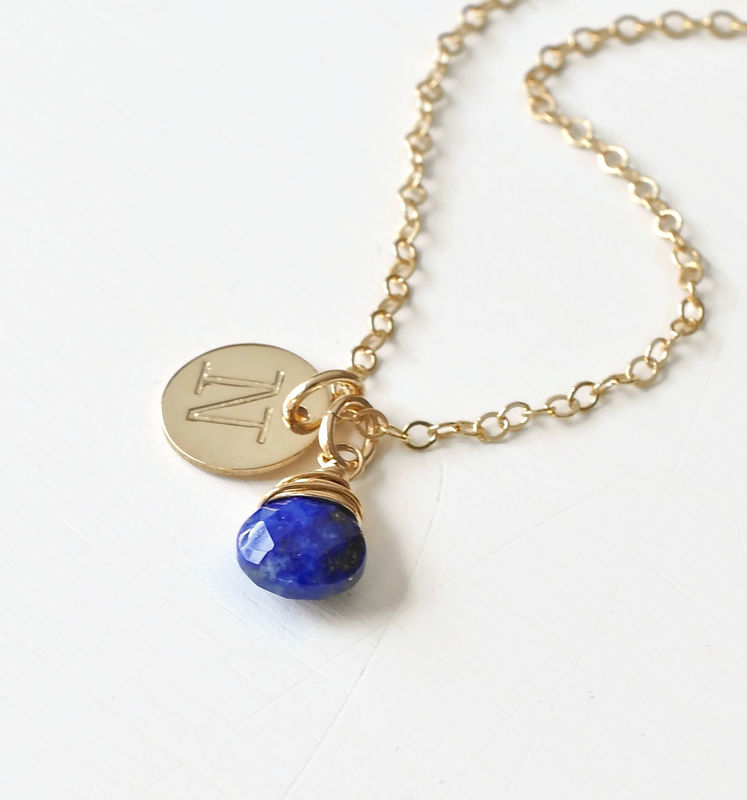 Gold Initial Necklace with September Birthstone - product image