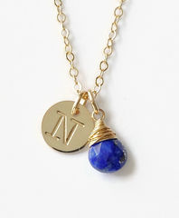Gold Initial Necklace with September Birthstone - product images 1 of 10