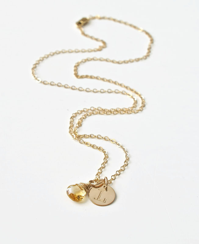 Gold Initial Necklace with November Birthstone  - product image