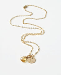 Gold Initial Necklace with November Birthstone  - product images 5 of 9