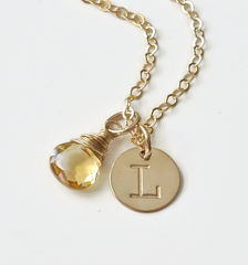 Gold Initial Necklace with November Birthstone  - product images 2 of 9