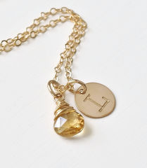 Gold Initial Necklace with November Birthstone  - product images 3 of 9