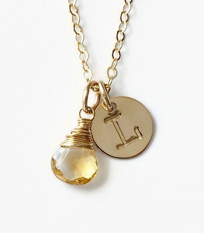 Gold,Initial,Necklace,with,November,Birthstone,gold initial necklace with birthstone, letter and birthstone necklace, personalized birthstone necklace