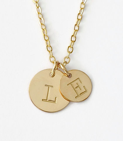Personalized,Gold,Mother,Child,Initial,Necklace,gold mother child initial necklace, personalized mother child initial necklace