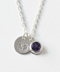 Sterling Silver Necklace with February Birthstone and Baby Footprints Charms - product images 2 of 7