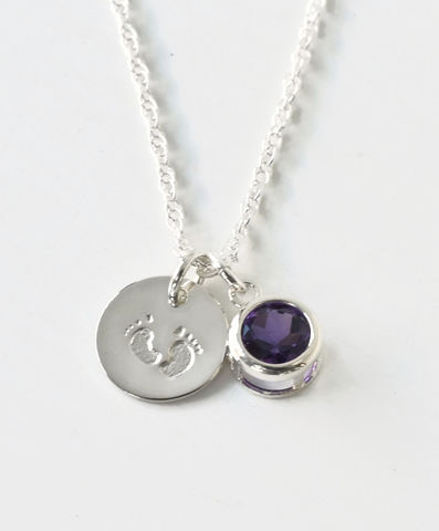 Sterling,Silver,Necklace,with,February,Birthstone,and,Baby,Footprints,Charms,baby footprints birthstone necklace