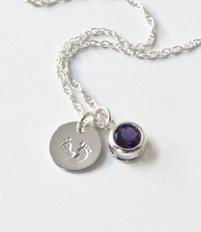Sterling Silver Necklace with February Birthstone and Baby Footprints Charms - product image