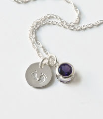 Sterling Silver Necklace with February Birthstone and Baby Footprints Charms - product images 3 of 7
