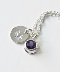 Sterling Silver Necklace with February Birthstone and Baby Footprints Charms - product images 4 of 7
