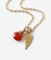 Gold Pregnancy Loss Necklace with July Birthstone and Angel Wing Charm - product images 3 of 7