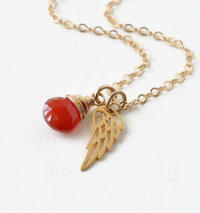 Gold Pregnancy Loss Necklace with July Birthstone and Angel Wing Charm - product images 4 of 7