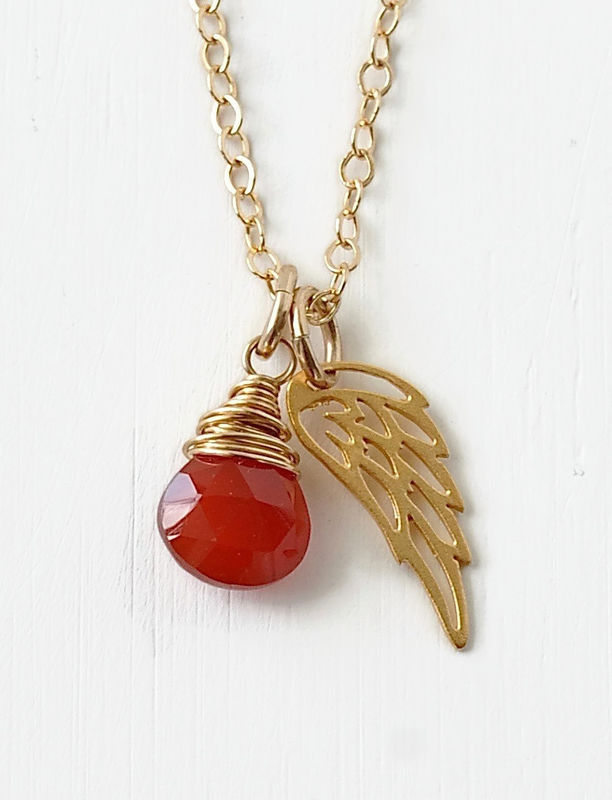 Gold Pregnancy Loss Necklace with July Birthstone and Angel Wing Charm - product image