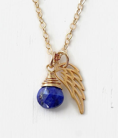 Gold,Pregnancy,Loss,Necklace,with,September,Birthstone,and,Angel,Wing,Charm,pregnancy loss necklace, miscarriage necklace with birthstone, miscarriage memorial necklace