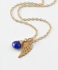 Gold Pregnancy Loss Necklace with September Birthstone and Angel Wing Charm - product images 4 of 7