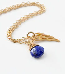 Gold Pregnancy Loss Necklace with September Birthstone and Angel Wing Charm - product images 2 of 7