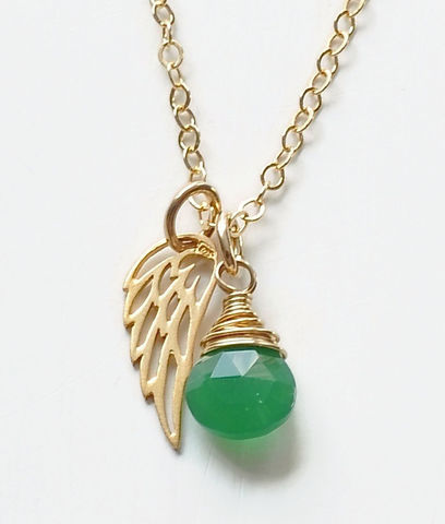 Gold,Pregnancy,Loss,Necklace,with,May,Birthstone,and,Angel,Wing,Charm,Pregnancy loss necklace with birthstone, miscarriage necklace with birthstone