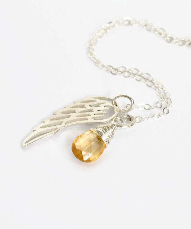 Silver Angel Wing Miscarriage Memorial Necklace with November Birthstone - product image