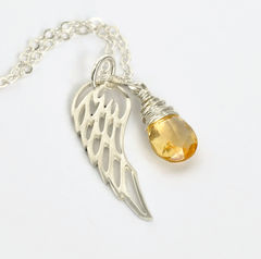 Silver Angel Wing Miscarriage Memorial Necklace with November Birthstone - product images 4 of 6