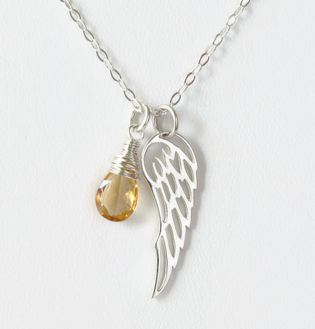 Silver,Angel,Wing,Miscarriage,Memorial,Necklace,with,November,Birthstone,miscarriage necklace forget-me-not, miscarriage memorial jewelry, miscarriage necklace with birthstone