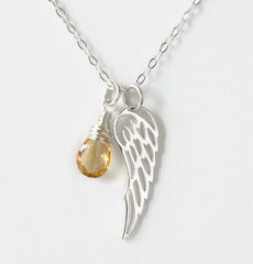 Silver Angel Wing Miscarriage Memorial Necklace with November Birthstone - product images 1 of 6