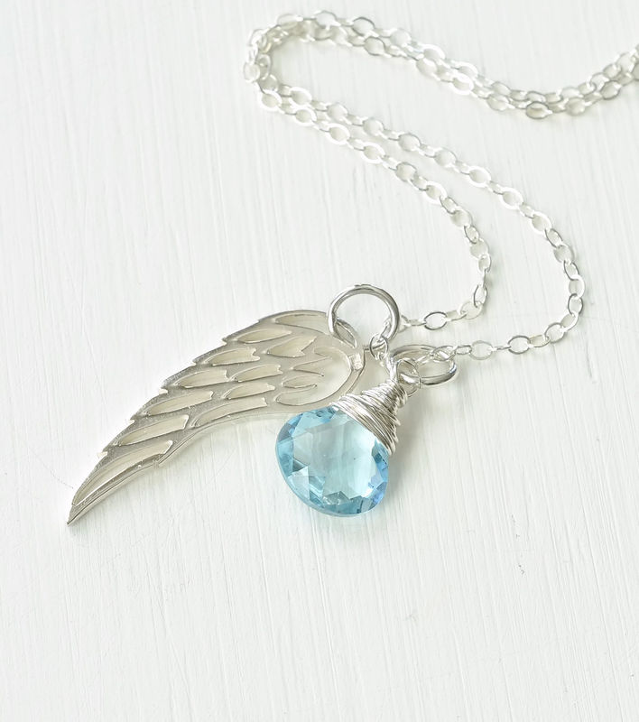 Silver Angel Wing Miscarriage Memorial Necklace with December Birthstone - product image