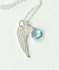 Silver Angel Wing Miscarriage Memorial Necklace with December Birthstone - product images 3 of 7
