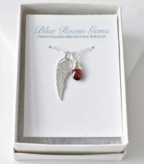 Silver Angel Wing Miscarriage Memorial Necklace with January Birthstone - product images 2 of 10