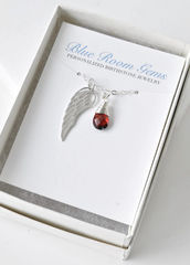 Silver Angel Wing Miscarriage Memorial Necklace with January Birthstone - product images 3 of 10