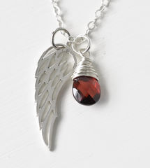 Silver Angel Wing Miscarriage Memorial Necklace with January Birthstone - product images 4 of 10