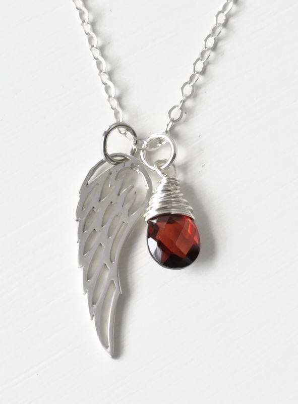 Silver Angel Wing Miscarriage Memorial Necklace with January Birthstone - product image