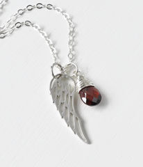 Silver Angel Wing Miscarriage Memorial Necklace with January Birthstone - product images 6 of 10