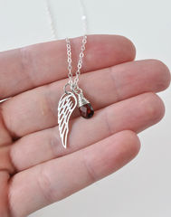 Silver Angel Wing Miscarriage Memorial Necklace with January Birthstone - product images 8 of 10