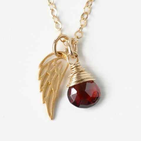 Gold,Pregnancy,Loss,Necklace,with,January,Birthstone,and,Angel,Wing,Charm,pregnancy loss necklace, miscarriage necklace with birthstone, miscarriage memorial necklace