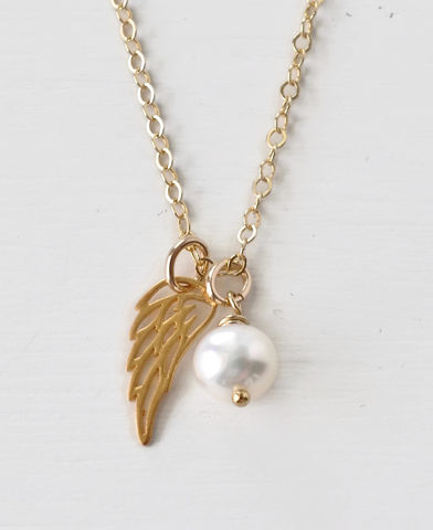 Gold,Pregnancy,Loss,Necklace,with,June,Birthstone,and,Angel,Wing,Charm,pregnancy loss necklace, miscarriage necklace with birthstone, miscarriage memorial necklace